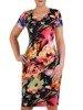 Sukienka w kwiaty, prosty fason z dekoltem w serek 25716