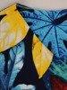Sukienka w liście, prosty fason z dekoltem w serek 25719