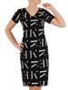 Sukienka w napisy, prosty fason z dekoltem w serek 28805