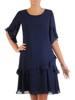 Sukienka z szyfonu, granatowa kreacja z falbanami 26887