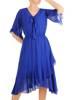 Sukienka z szyfonu, modna kreacja z wiązaniem na dekolcie 29165