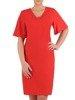 Sukienka z tkaniny, czerwona kreacja z luźnymi rękawami 25587