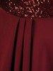 Wieczorowa suknia z cekinowym zdobieniem, bordowa kreacja maxi 24876