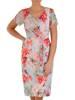 Wiosenna sukienka w kwiaty, kreacja maskująca brzuch 28200