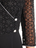 Wizytowa sukienka z łączonych materiałów z kopertowym dekoltem 31109
