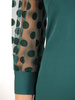 Zielona, prosta sukienka z bufiastymi rękawami w groszki 30609