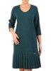 Zielona sukienka z dzianiny, kreacja z ozdobnymi kontrafałdami 24066